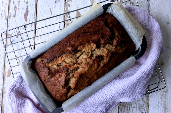 Banana and Apple Loaf Cake fresh out of the oven on feedingboys.co.uk