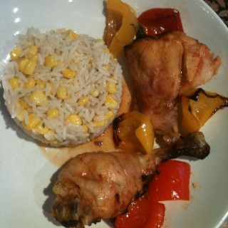 Tasty BBQ chicken with corn rice