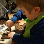 Sam chopping chocolate