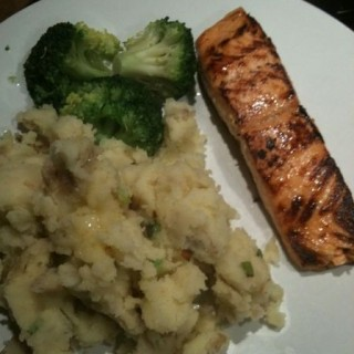 Pan-fried Salmon with rustic spring onion mash