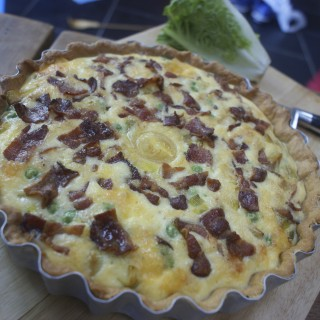 Leek, bacon, pea and double gloucester quiche