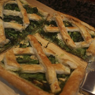 Hot smoked salmon and purple sprouting lattice tart
