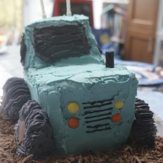 A tractor birthday cake for Arlo's second birthday