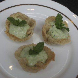 A trio of party canapes