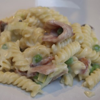 Simple supper: Cheese, leek and bacon pasta