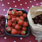 Raspberries, strawberries and cherries