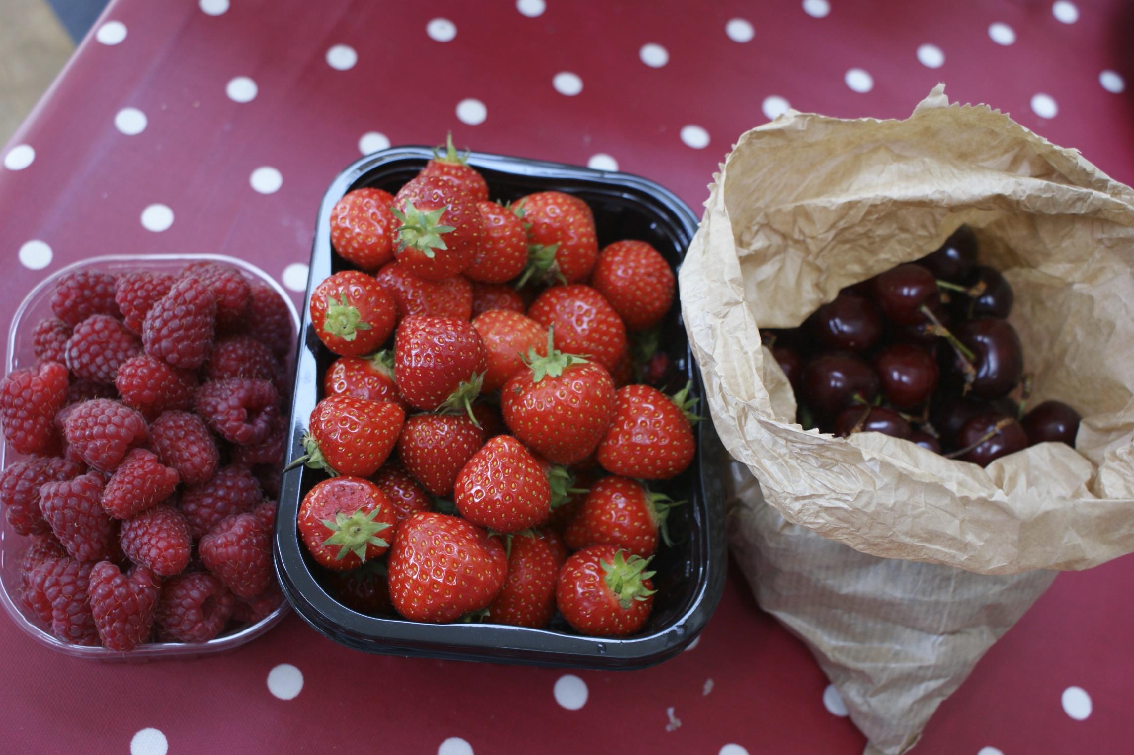 Raspberries, strawberries and cherries