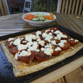 Roasted tomato tart with goats cheese and pesto