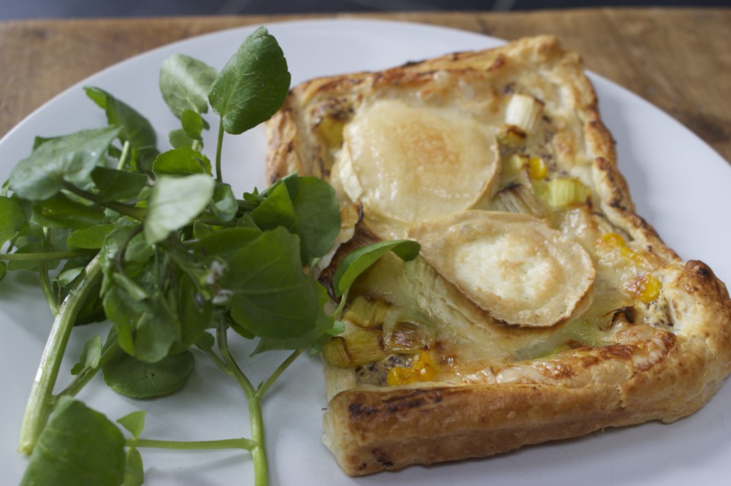 Leek and goats cheese tart