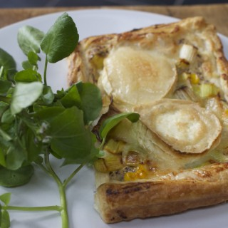 Leek, sweetcorn and goats cheese tarts