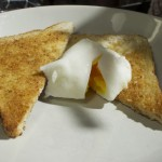 A poached egg made using Lakeland Poachets