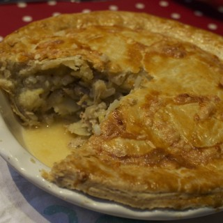 Sausage, cider and potato pie