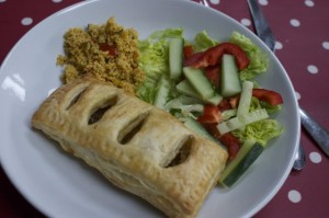 puff pasties with salad