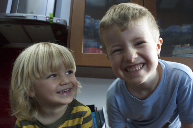 Sam and Arlo being cheeky