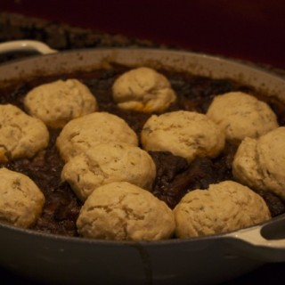 Steak and ale stew with mustard and thyme dumplings