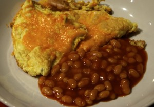 Fluffy omelette and beans