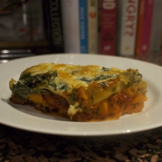 portion of roasted sweet potato lasagne on a plate
