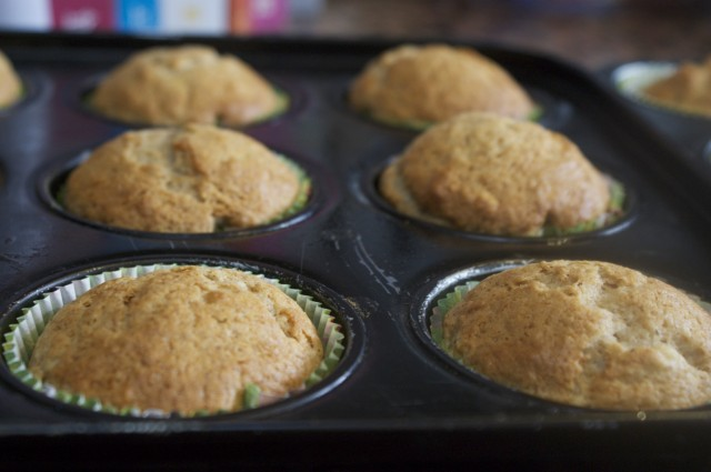banana muffins in tray