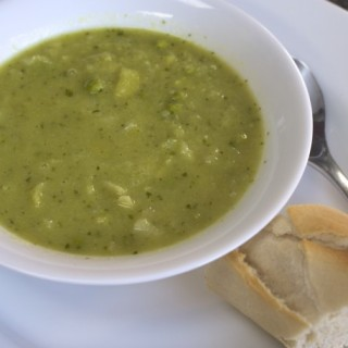 chunky pea and leek soup