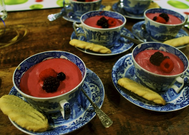 Berry fools in spode teacups with shortbread