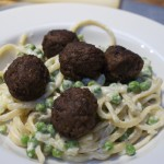 creme fraiche, lemon and pea linguine with soya meatballs