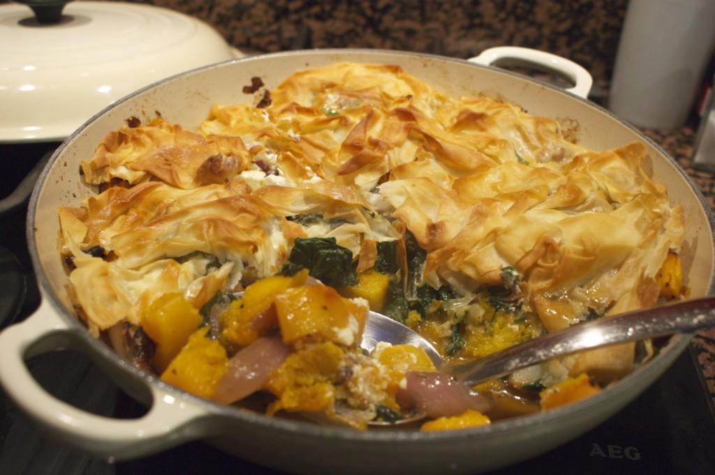Butternut squash and filo pie