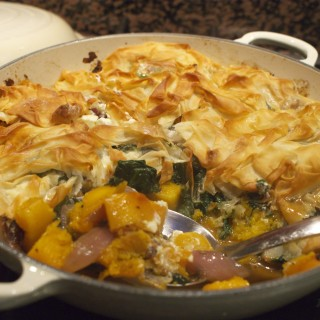 Butternut squash, spinach and feta filo pie