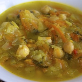 Leek, chickpea and lemon soup