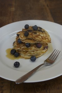 american style pancakes with blueberries