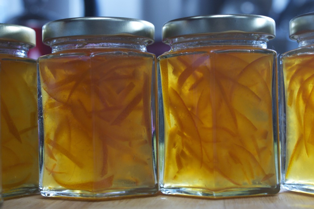 Sun-lit jars of seville orange marmalade
