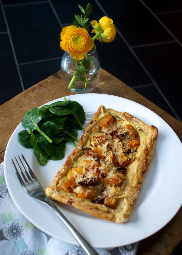Butternut squash, bacon and parmesan tart
