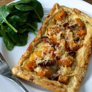 Butternut squash, bacon and parmesan tarts