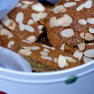 Sticky honey, banana and almond cake