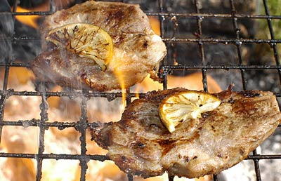Pork steak on the barbecue