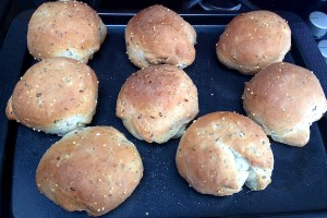 Seeded rolls fresh out of the oven