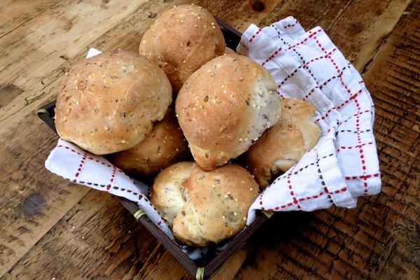 Seeded bread rolls in basket