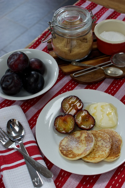 grilled plums and scotch pancakes