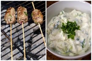Lamb koftas with yoghurt, mint and cucumber dip