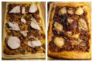 Goats cheese tart with thyme, walnuts and caramelised onion