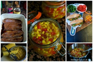 Making turkey and bacon subs with sweetcorn relish