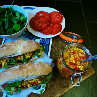 Turkey and bacon subs with chunky sweetcorn relish