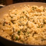 Goats cheese, lemon, basil and pea risotto
