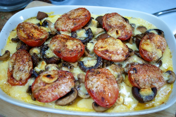 Grilled polenta with roasted tomatoes and garlic mushrooms