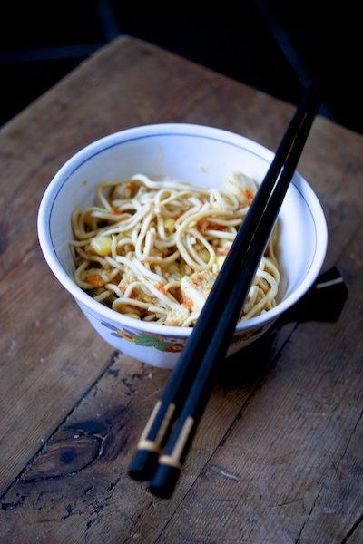 Bowl of noodles in a creamy coconut curry sauce