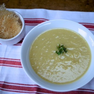 Leek and Potato soup with Grana Padano crisps