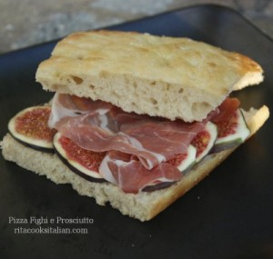 Focaccia style pizza with figs