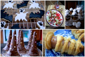 Spooky biscuits, monster blood spattered fruit kebabs, ghost cupcakes, witch hats and mummified sausage rolls