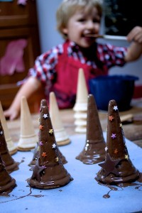 Making Halloween chocolate witch hats