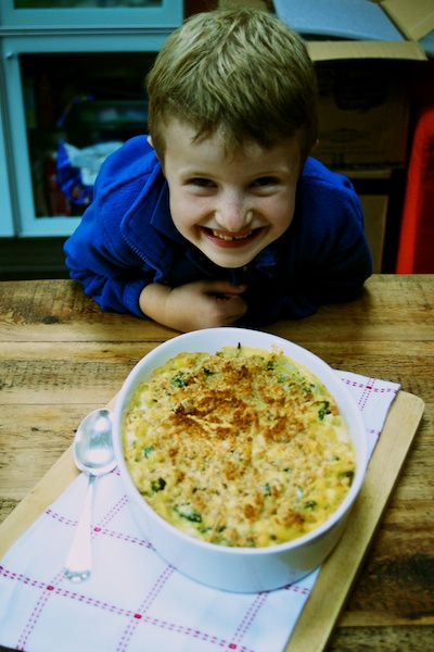 Cheeky Sam with the spinach, leek and cheese pasta bake