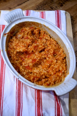 One pot recipe: cheese and tomato baked risotto